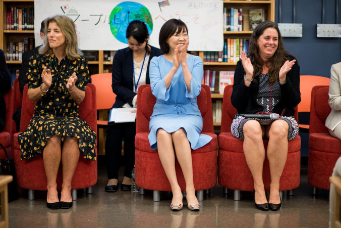 Japanese first lady Akie Abe, center, and Caroline Kennedy, left, Visited Marble Hill School